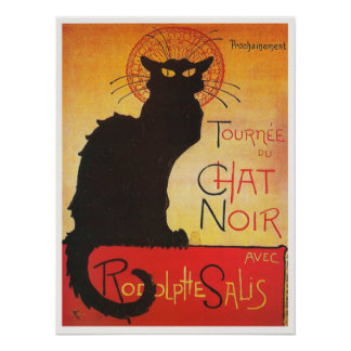 Chat Noir by Steinlen Vintage French cabaret cat Posters