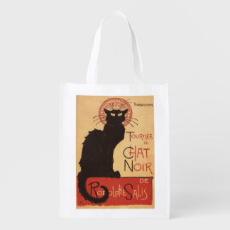 Chat Noir Cabaret Troupe Black Cat Promo Poster Reusable Grocery Bags