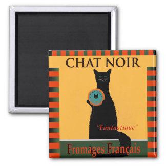 Chat Noir Fromages Français Square Magnet