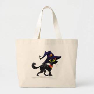 Chat noir Halloween Large Tote Bag
