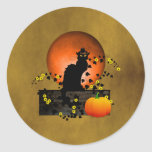 Chat Noir Thanksgiving Round Sticker