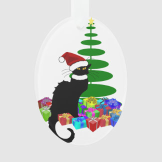 Chat Noir With Christmas Tree and Gifts