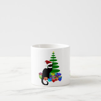 Chat Noir With Christmas Tree and Gifts Espresso Cup