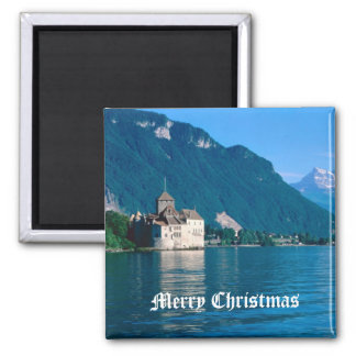 Chateau Chinon, beside Lake Geneva 2 Square Magnet