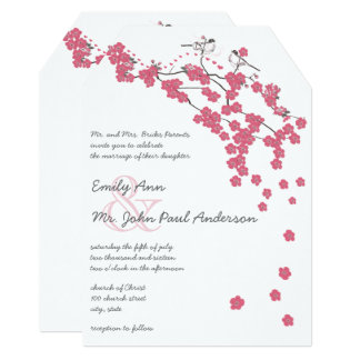 Chateau Rose Cherry Blossom Pink Chickadee Wedding Card