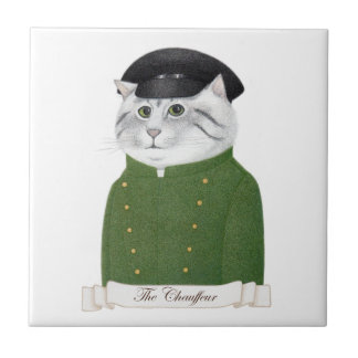 "Chauffeur Cat Small (4.25"" x 4.25"") Ceramic Tile"