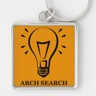 Chaveiro 5,1cm Arch Search Silver-Colored Square Key Ring