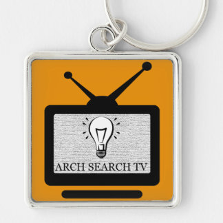 Chaveiro 5,1cm Arch Search TV Silver-Colored Square Key Ring