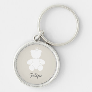 Chaveiro Baby Bear Prince Silver-Colored Round Key Ring