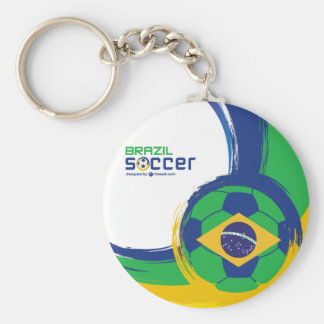 Chaveiro Brazil Series - Flag and Ball Basic Round Button Key Ring