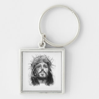 Chaveiro Christ Silver-Colored Square Key Ring
