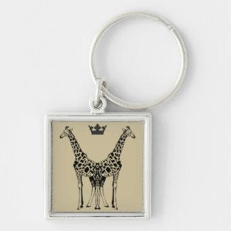 Chaveiro Elegant Giraffes Silver-Colored Square Key Ring