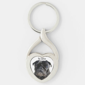 chaveiro I love you black pug Silver-Colored Twisted Heart Key Ring