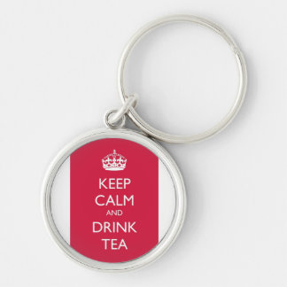 Chaveiro keep calm and drink tea rose Silver-Colored round key ring