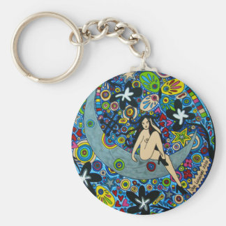 Chaveiro Pinup in the Moon Basic Round Button Key Ring