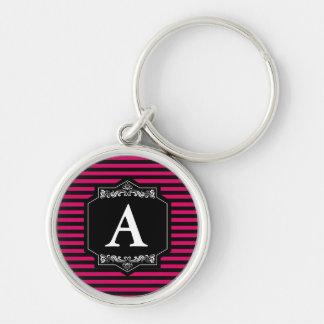 Chaveiro Premium Redondo Pink Stripes Monogram Key Ring