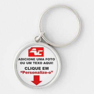 Chaveiro Premium Redondo - Small - 3,7 cm Silver-Colored Round Key Ring