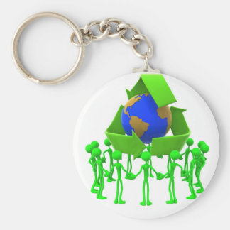 Chaveiro recycling basic round button key ring
