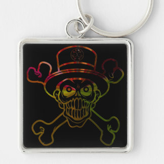 """Chaveiro """"Skull of hat """" Silver-Colored Square Key Ring"""