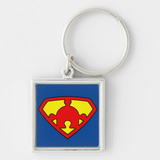 Chaveiro Squared Premium Super Autismo Puzzle Silver-Colored Square Key Ring