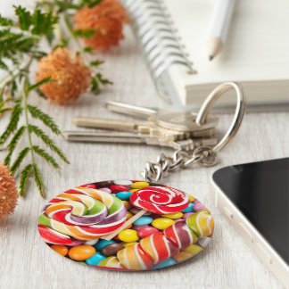 Chaveiro Sweet Colored Basic Round Button Key Ring