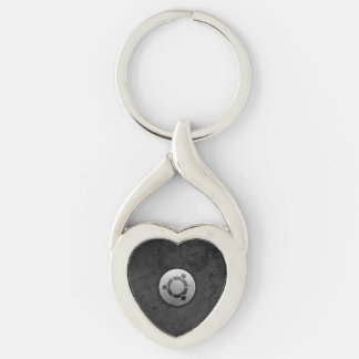 Chaveiro ubuntu black Silver-Colored twisted heart key ring