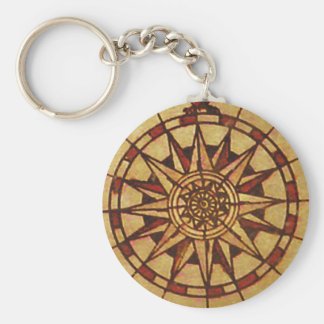 "Chaveiro ""Wind rose"" Through Waves Basic Round Button Key Ring"