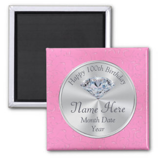 Cheap 100th Birthday Party Ideas, Diamond Pins Magnet
