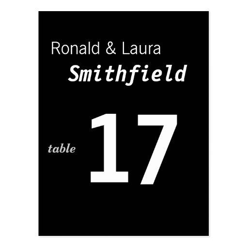 Cheap and Classy Wedding Table Card Post Cards