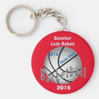 Cheap Basketball Keychains, 4 Text Boxes YOUR TEXT Basic Round Button Key Ring