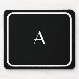 Cheap Black Mousepad w/ White Monogram & Frame