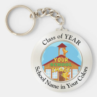 Cheap Class Reunion Gifts YOUR PHOTO, TEXT Basic Round Button Key Ring
