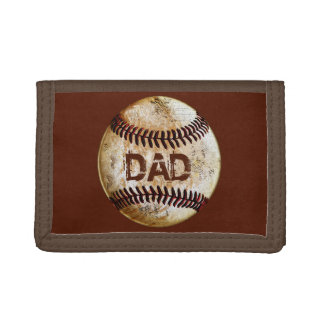 Cheap Cool Vintage Rustic Baseball Gifts for Him Tri-fold Wallets