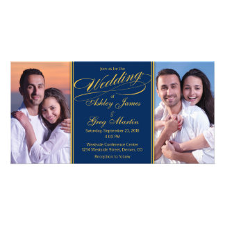 Cheap Navy Gold Photo Collage Wedding Invitation Custom Photo Card