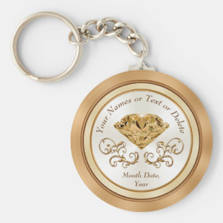 Cheap Personalized 50th Wedding Anniversary Favors Basic Round Button Key Ring