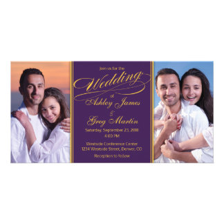 Cheap Purple Gold Photo Collage Wedding Invitation Picture Card
