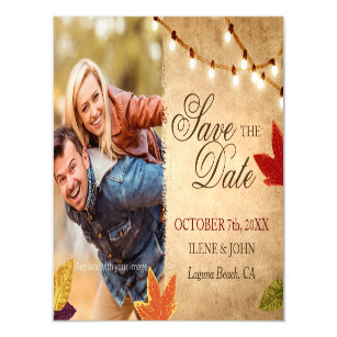 fall leaves save the date postcards zazzle au
