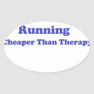 Cheaper than therapy blue oval sticker