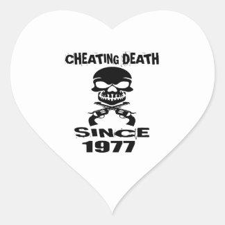 Cheating Death Since 1977 Birthday Designs Heart Sticker