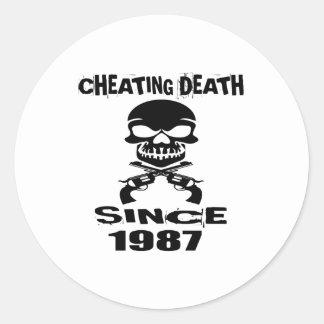 Cheating Death Since 1987 Birthday Designs Classic Round Sticker