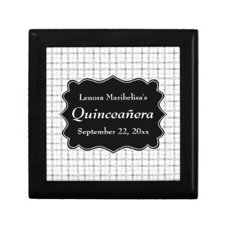 Check Pattern Black and White Quinceanera Gift Box