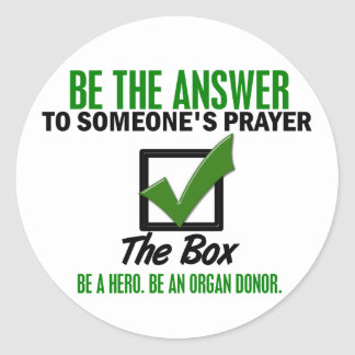 Check The Box Be An Organ Donor 3 Round Sticker