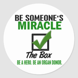 Check The Box Be An Organ Donor 6 Round Sticker