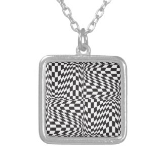 Check Twist Silver Plated Necklace