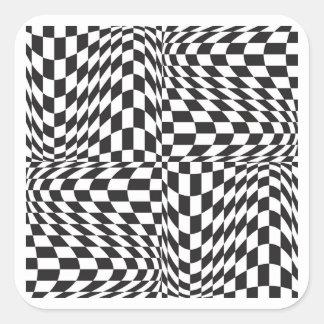 Check Twist Square Sticker