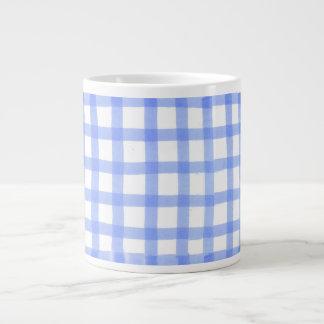 """""""Checked Blue & White"""" Large Mug Jumbo Mug"""