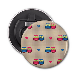 Checked pattern with love owls bottle opener