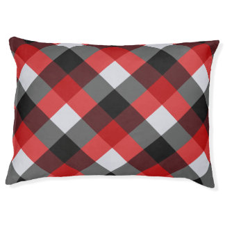 Checked Red Buffalo Plaid Print Pattern Pet Bed
