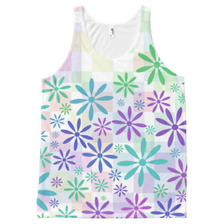 Checker Flowers All-Over Print Tank Top