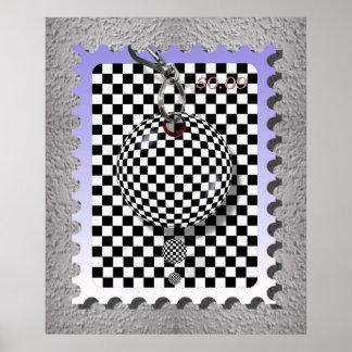 checker stamp poster